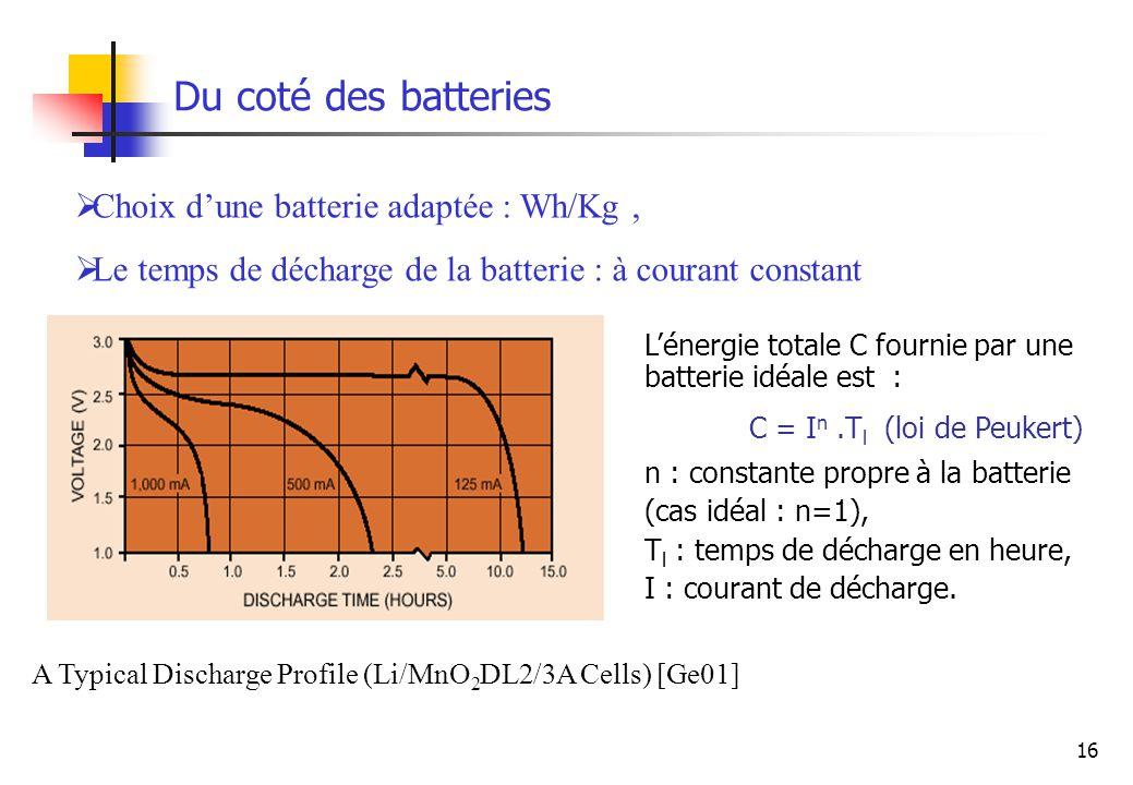 Du coté des batteries Choix d'une batterie adaptée : Wh/Kg ,