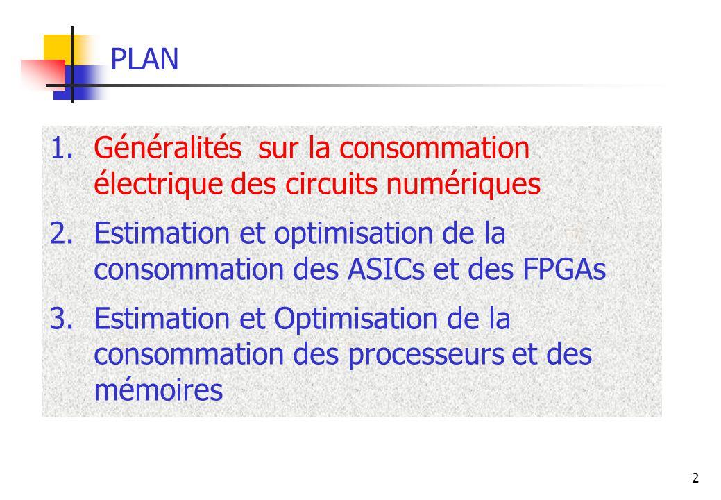 PLAN Généralités sur la consommation électrique des circuits numériques. Estimation et optimisation de la consommation des ASICs et des FPGAs.