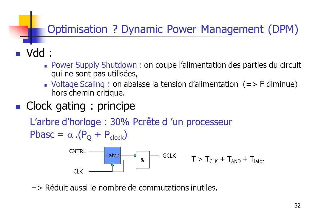 Optimisation Dynamic Power Management (DPM)