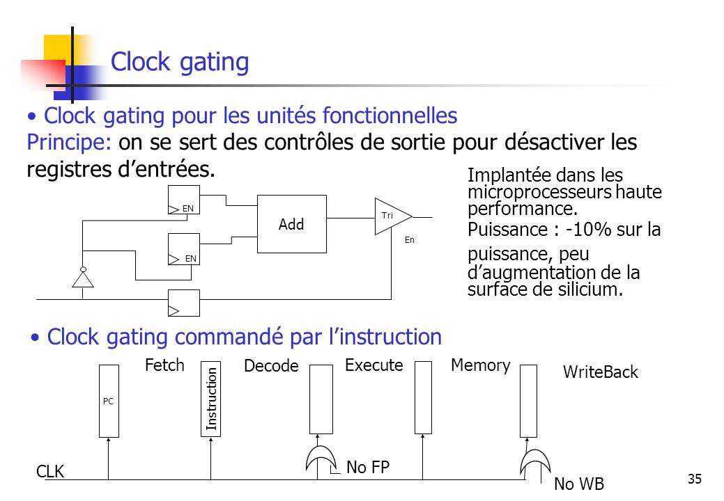 Clock gating Clock gating pour les unités fonctionnelles