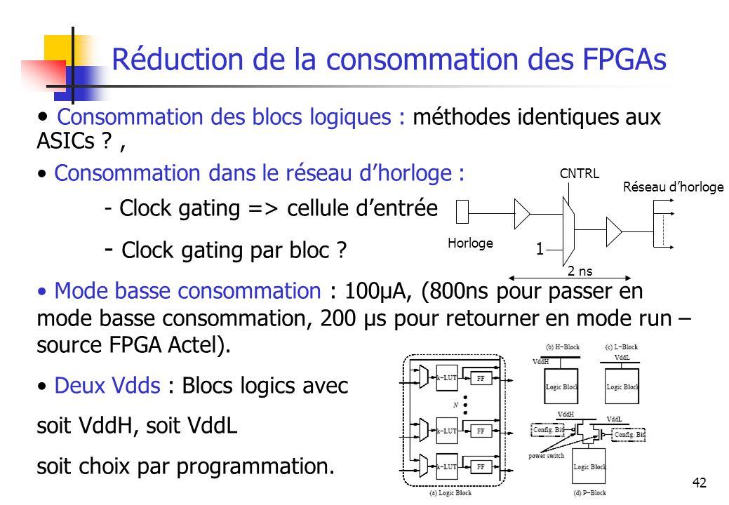 Réduction de la consommation des FPGAs