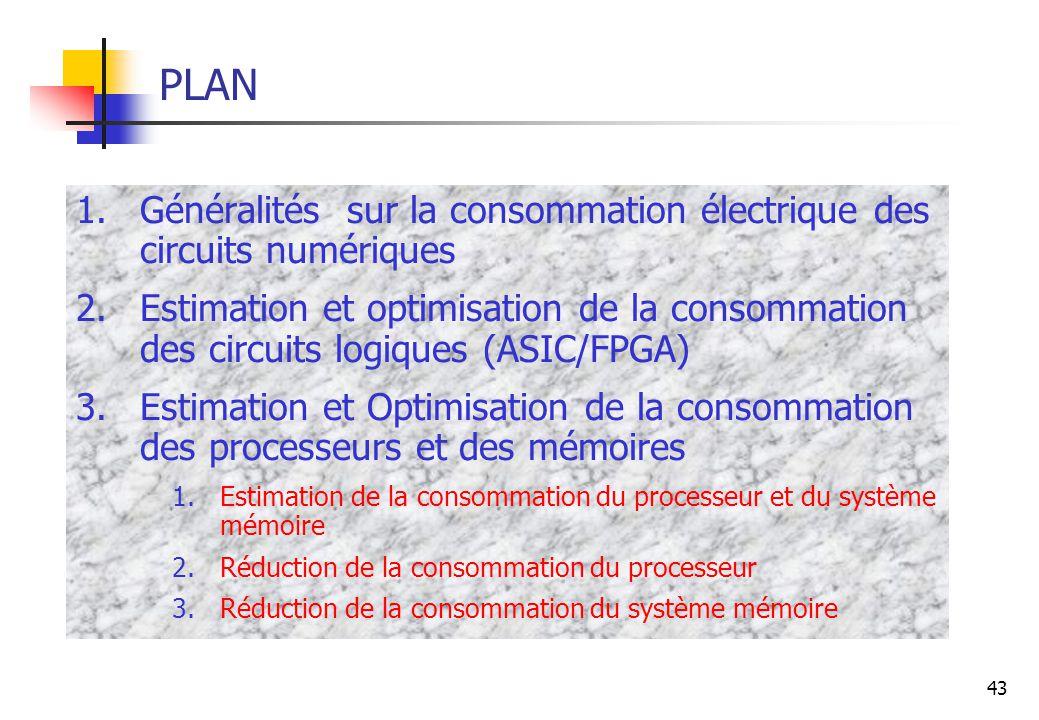 PLAN Généralités sur la consommation électrique des circuits numériques.