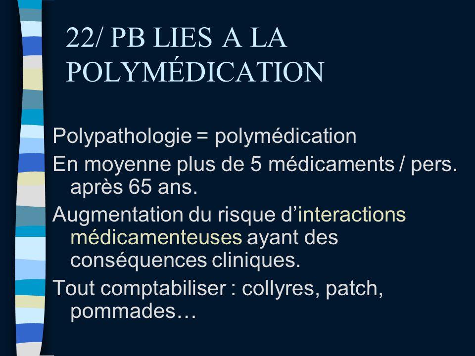 22/ PB LIES A LA POLYMÉDICATION