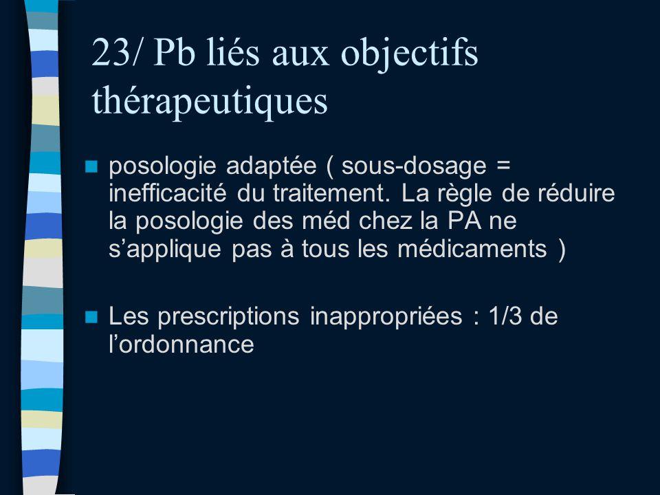 23/ Pb liés aux objectifs thérapeutiques