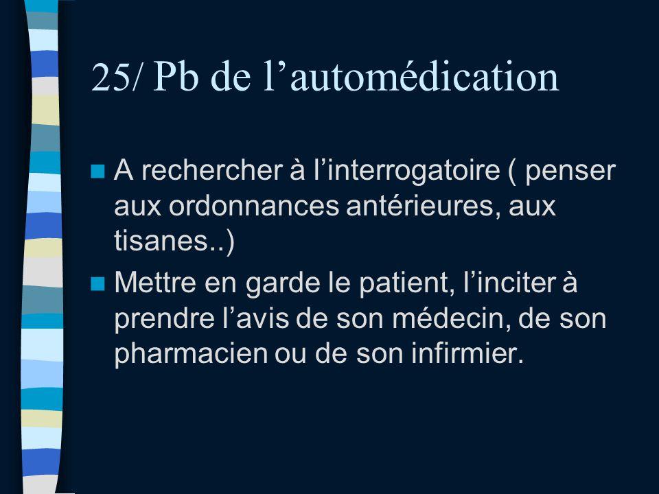 25/ Pb de l'automédication