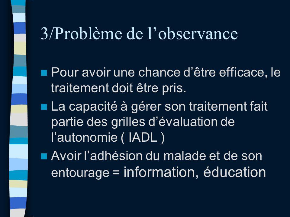 3/Problème de l'observance