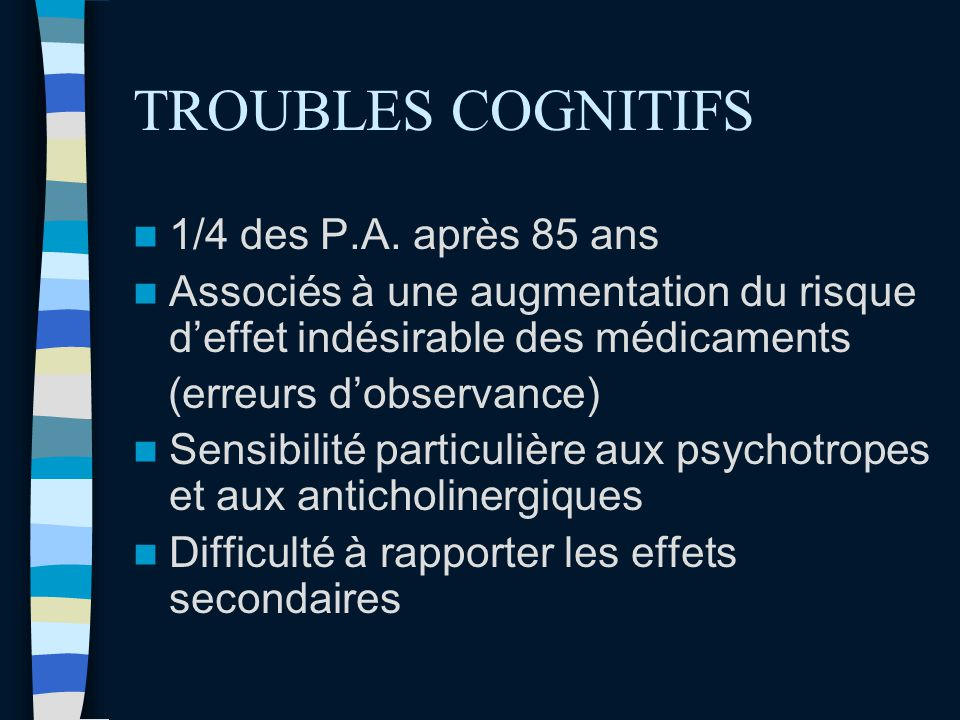 TROUBLES COGNITIFS 1/4 des P.A. après 85 ans
