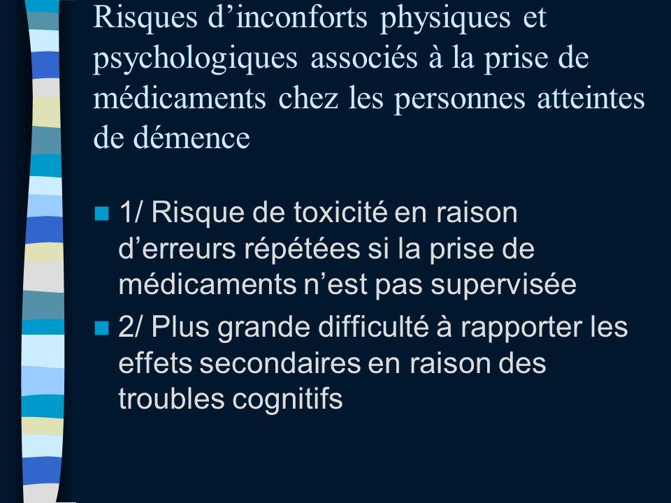 Risques d'inconforts physiques et psychologiques associés à la prise de médicaments chez les personnes atteintes de démence