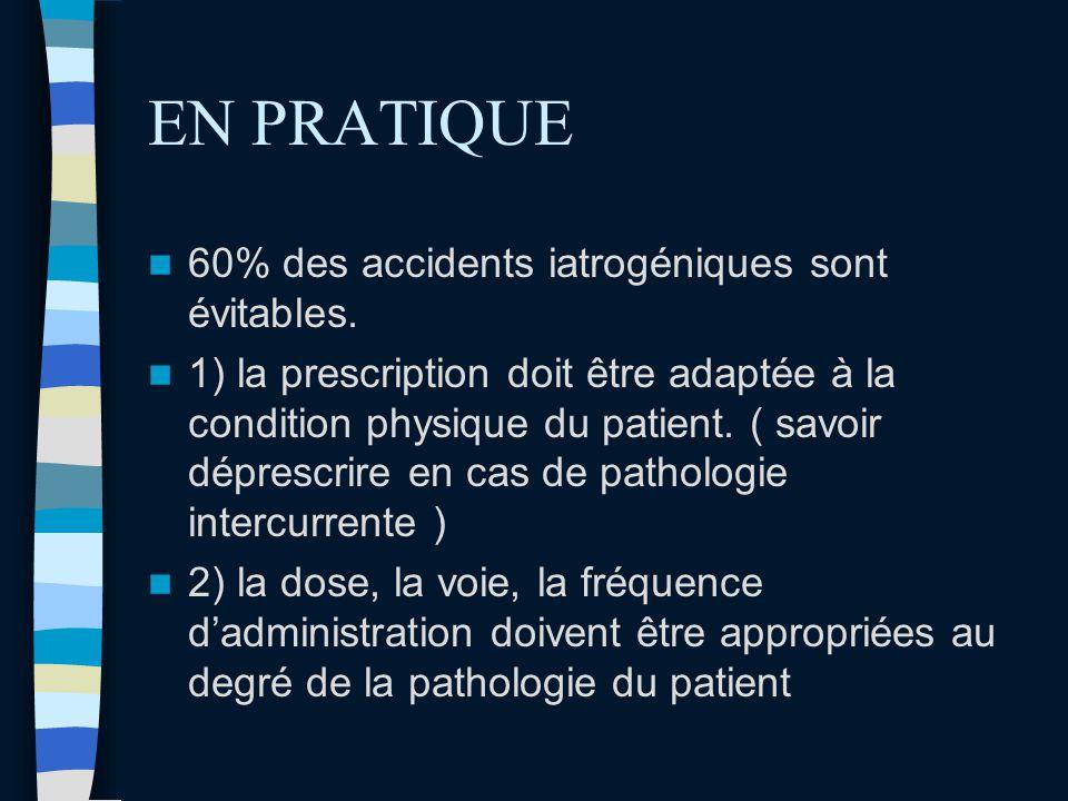 EN PRATIQUE 60% des accidents iatrogéniques sont évitables.