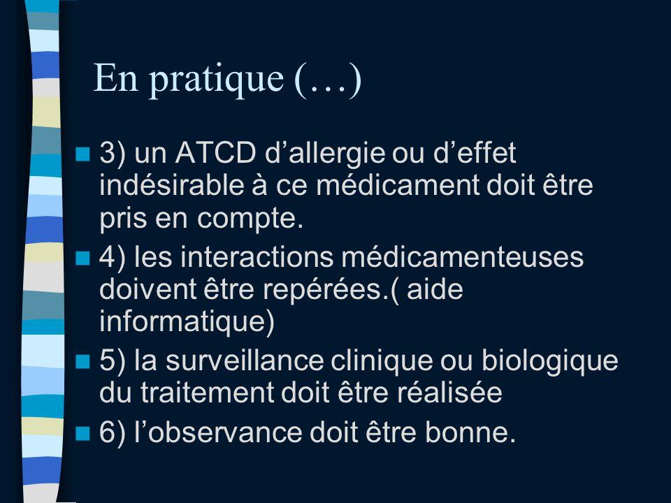 En pratique (…) 3) un ATCD d'allergie ou d'effet indésirable à ce médicament doit être pris en compte.