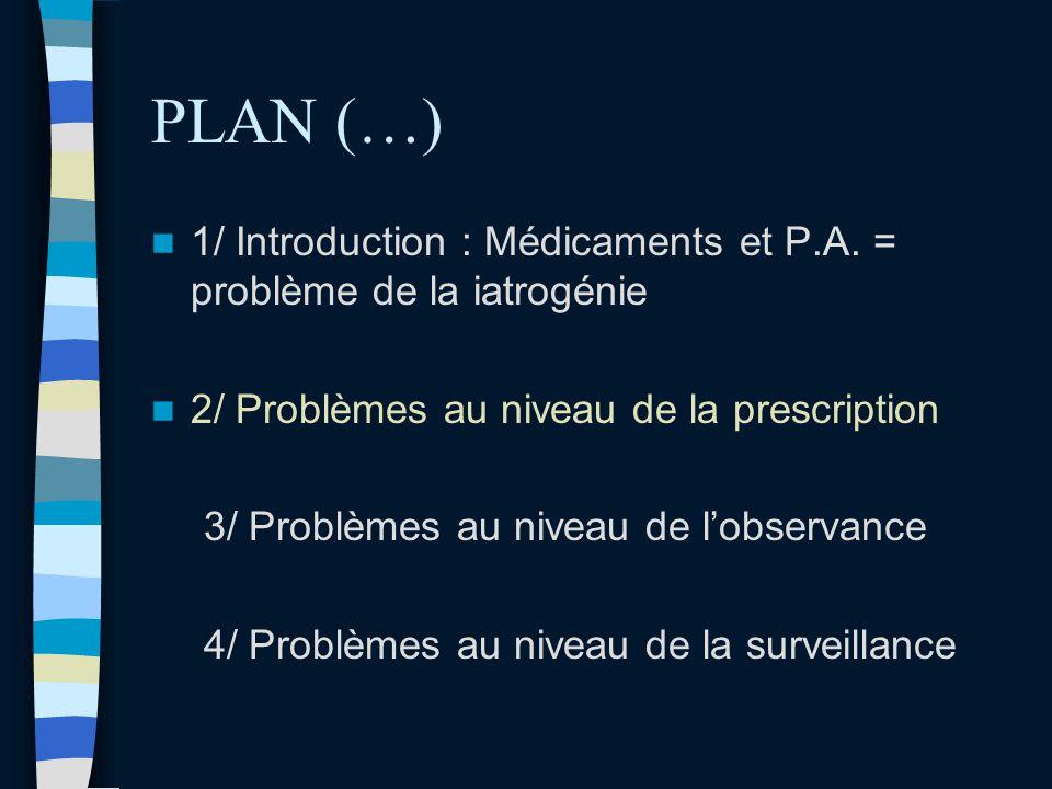 PLAN (…) 1/ Introduction : Médicaments et P.A. = problème de la iatrogénie. 2/ Problèmes au niveau de la prescription.