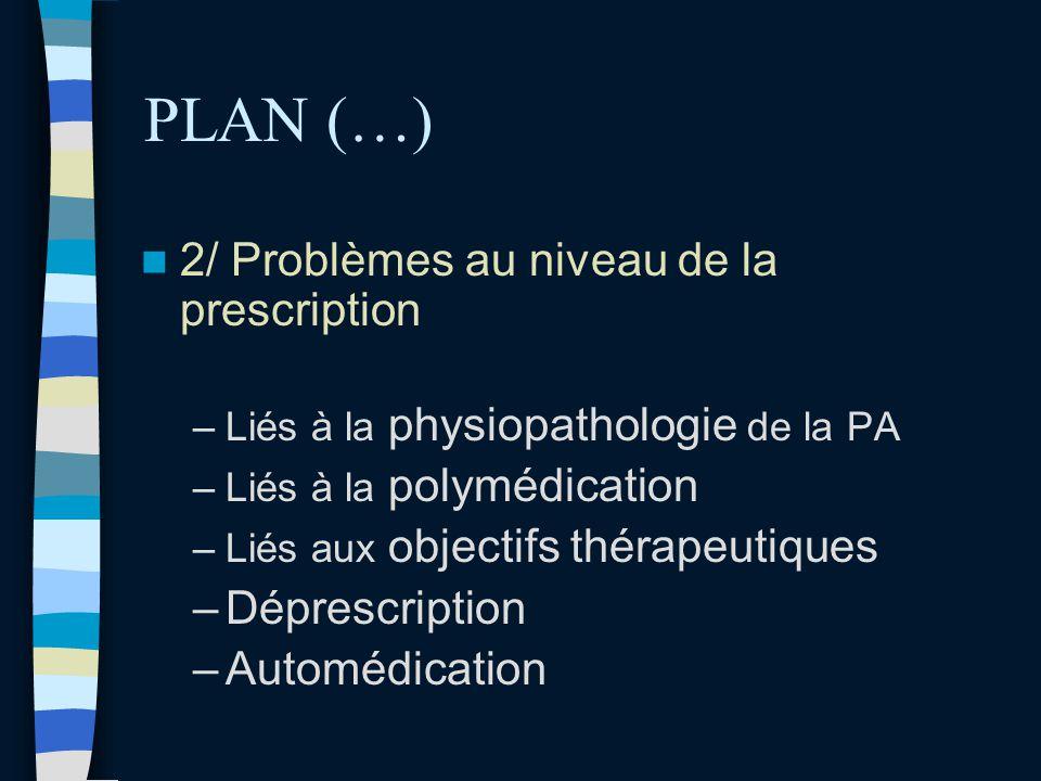 PLAN (…) 2/ Problèmes au niveau de la prescription Déprescription