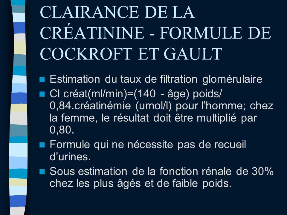 CLAIRANCE DE LA CRÉATININE - FORMULE DE COCKROFT ET GAULT