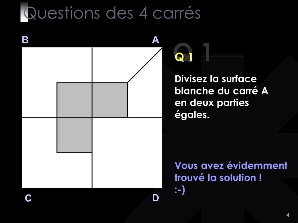Q 1 Questions des 4 carrés Q 1 B A