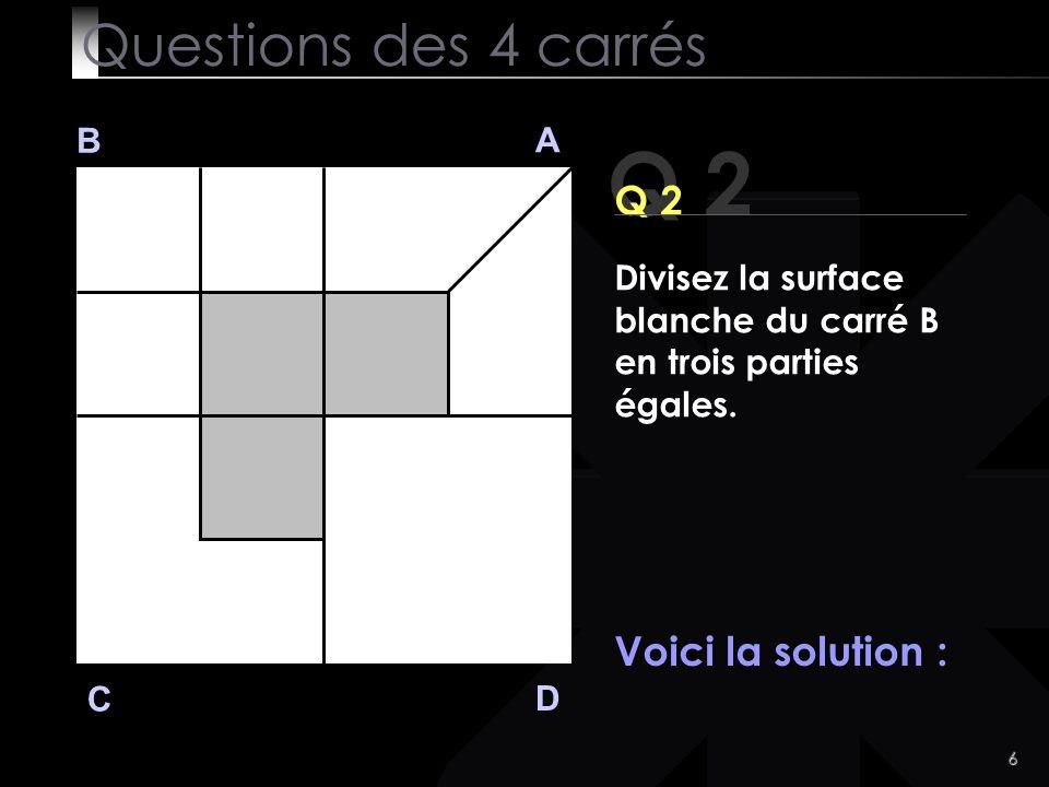 Q 2 Questions des 4 carrés Q 2 Voici la solution : B A