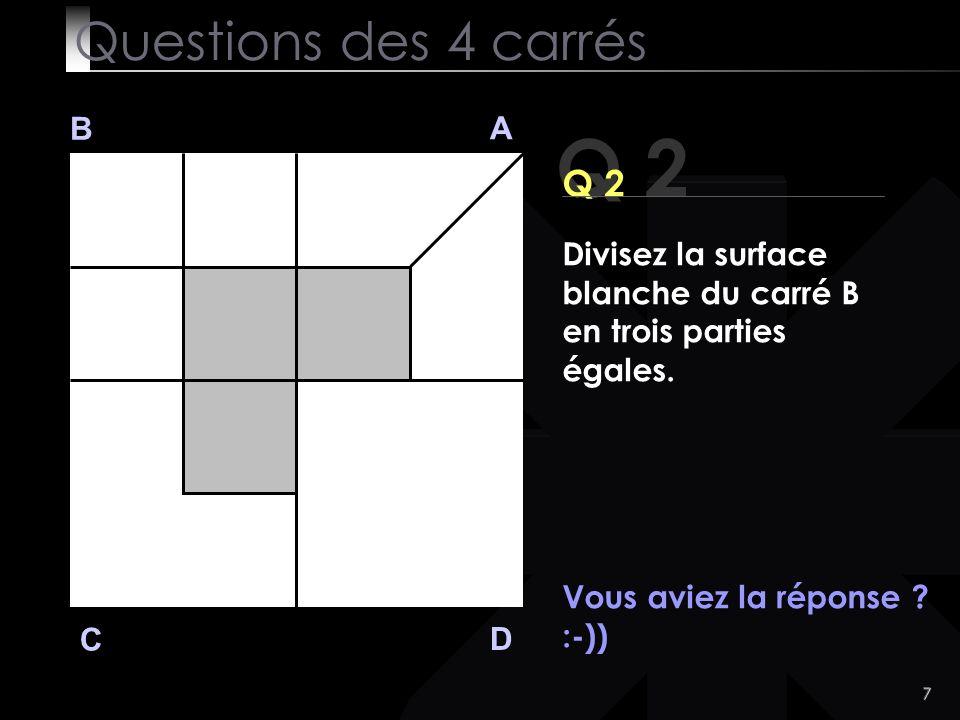 Q 2 Questions des 4 carrés Q 2 B A