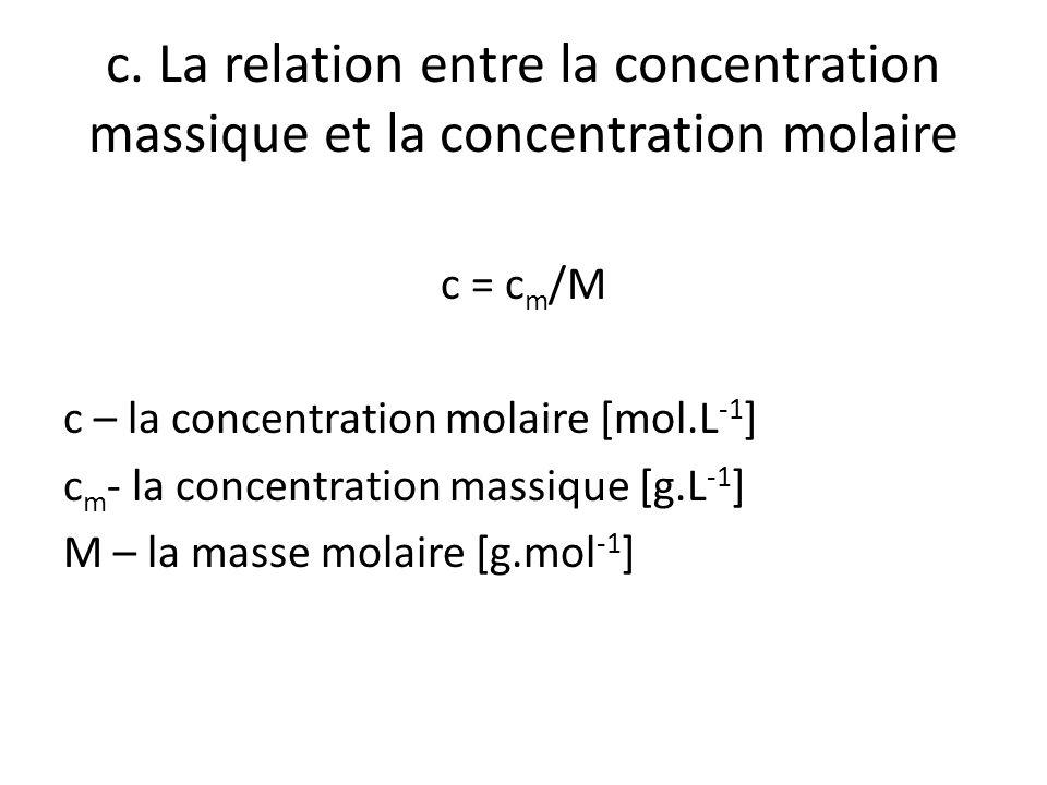 c. La relation entre la concentration massique et la concentration molaire