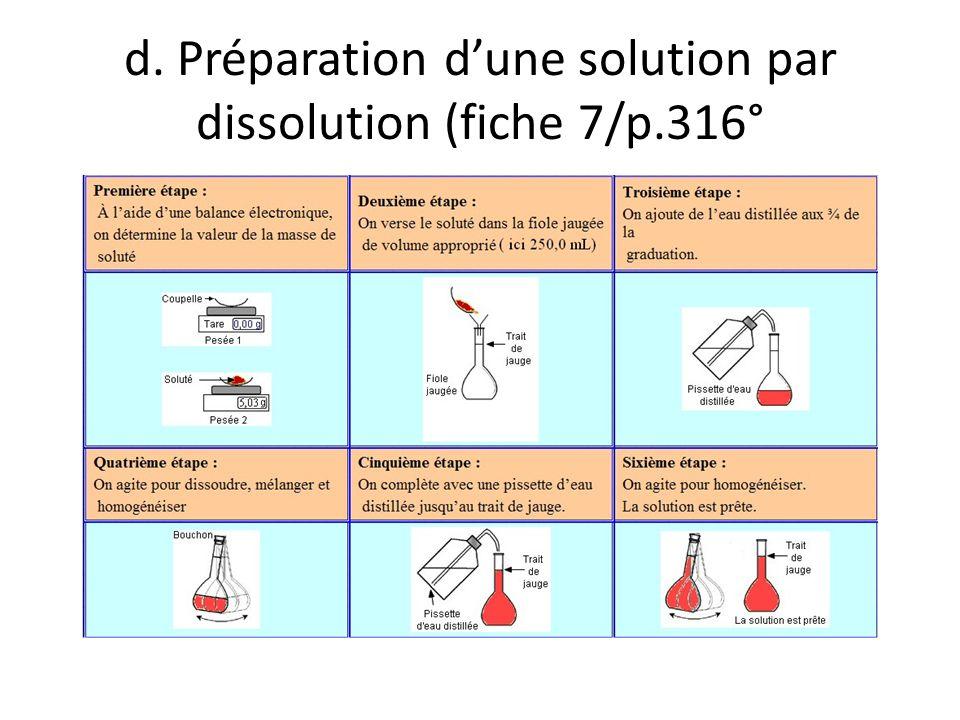 d. Préparation d'une solution par dissolution (fiche 7/p.316°