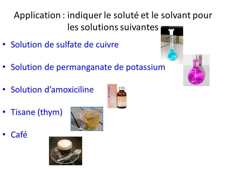 Application : indiquer le soluté et le solvant pour les solutions suivantes