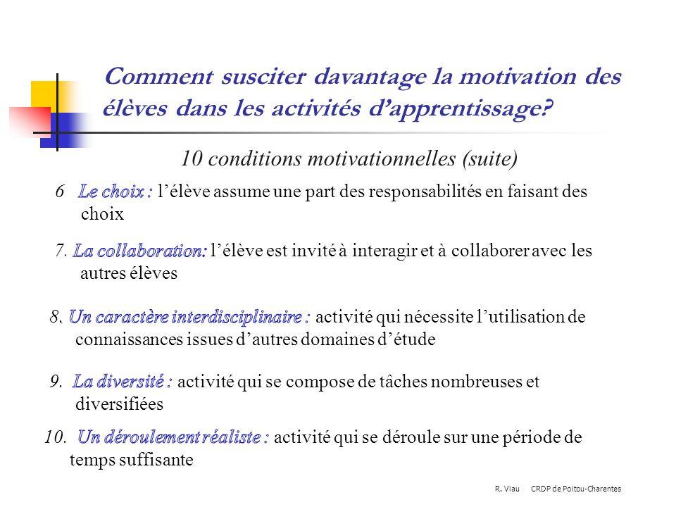 10 conditions motivationnelles (suite)