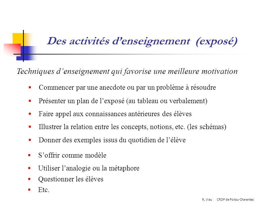 Des activités d'enseignement (exposé)