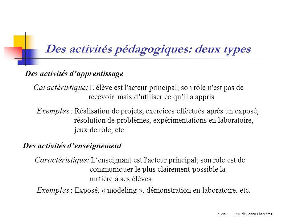 Des activités pédagogiques: deux types