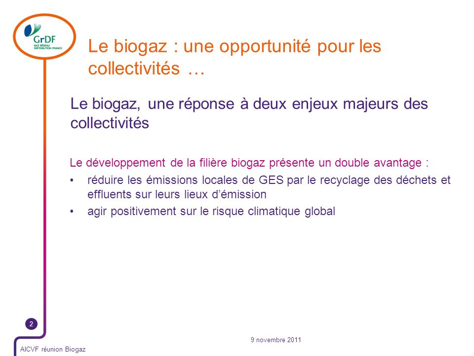 Le biogaz : une opportunité pour les collectivités …
