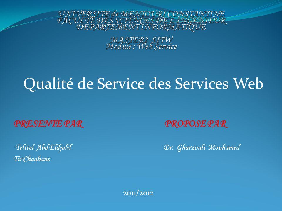 Qualité de Service des Services Web