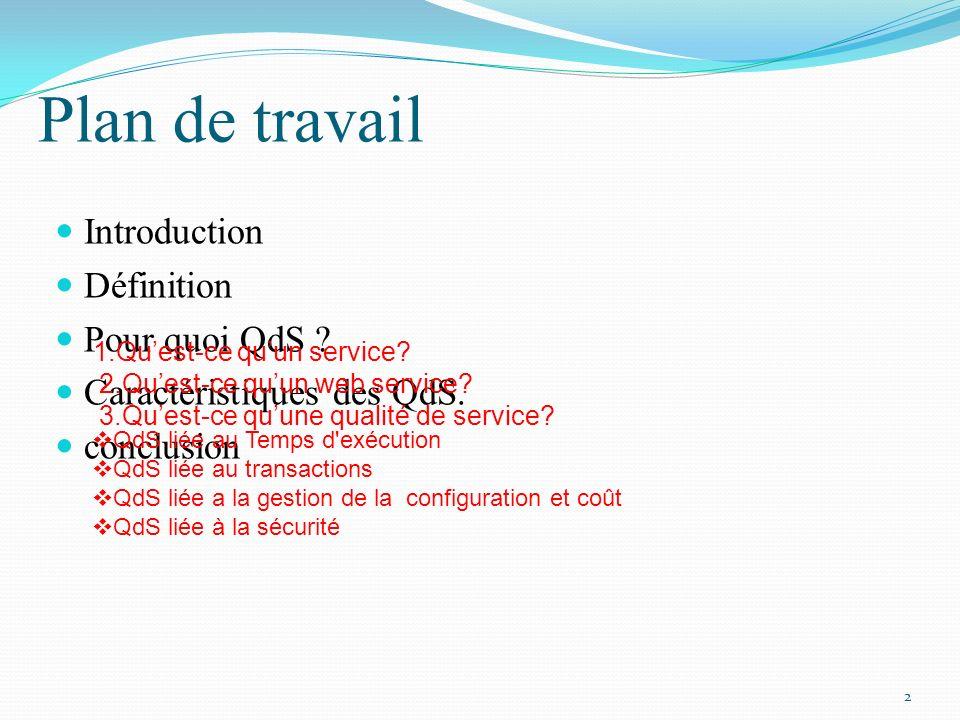 Plan de travail Introduction Définition Pour quoi QdS