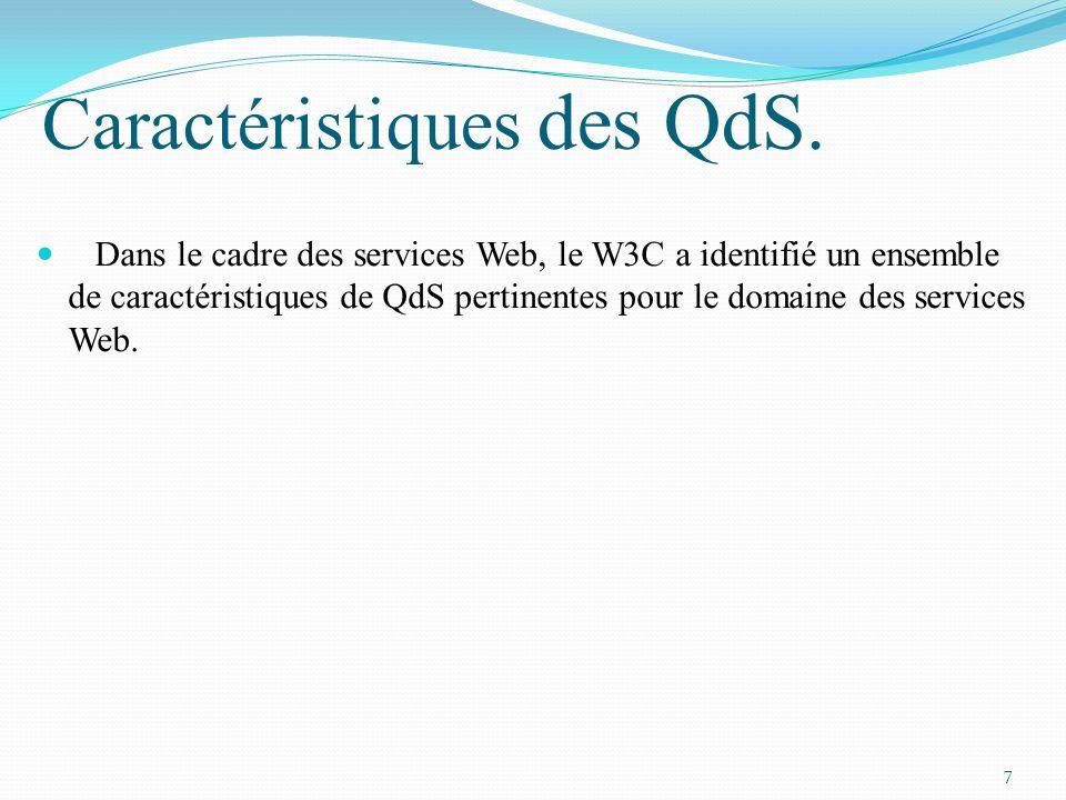 Caractéristiques des QdS.