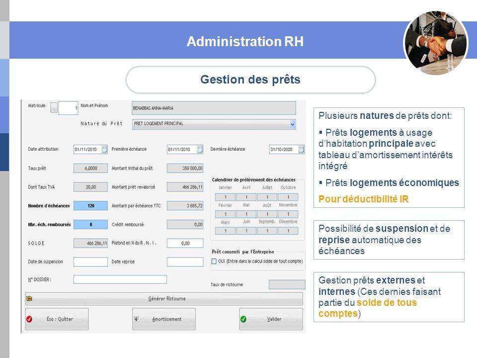 Administration RH Gestion des prêts Plusieurs natures de prêts dont: