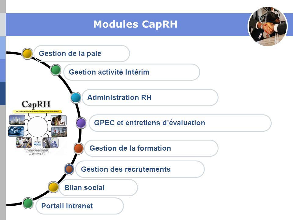 Modules CapRH Gestion de la paie Gestion activité Intérim
