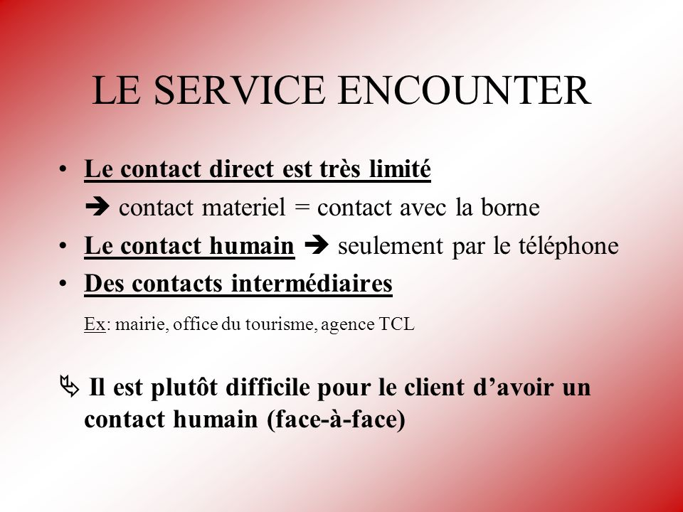LE SERVICE ENCOUNTER Le contact direct est très limité