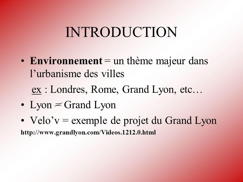 INTRODUCTION Environnement = un thème majeur dans l'urbanisme des villes. ex : Londres, Rome, Grand Lyon, etc…