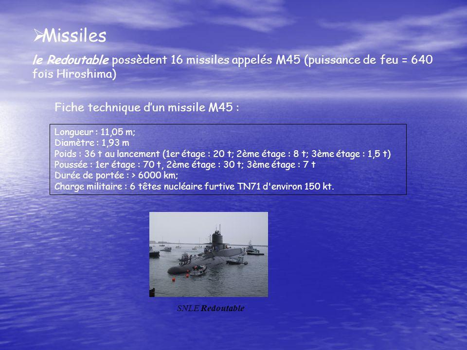 Missiles le Redoutable possèdent 16 missiles appelés M45 (puissance de feu = 640 fois Hiroshima) Fiche technique d'un missile M45 :