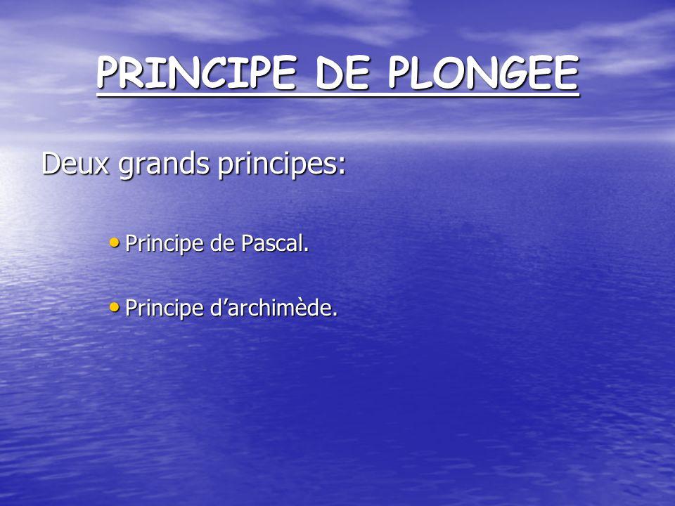 PRINCIPE DE PLONGEE Deux grands principes: Principe de Pascal.