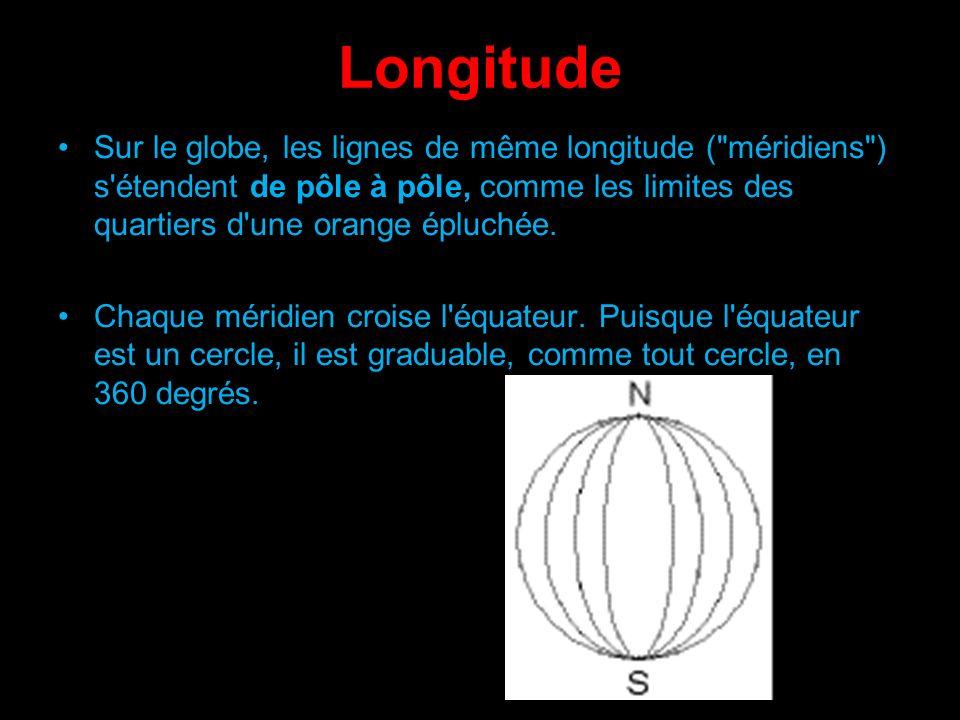 Longitude Sur le globe, les lignes de même longitude ( méridiens ) s étendent de pôle à pôle, comme les limites des quartiers d une orange épluchée.