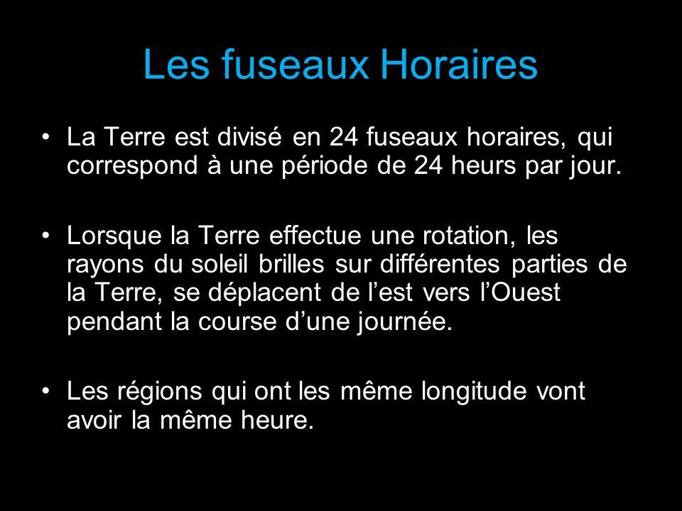 Les fuseaux HorairesLa Terre est divisé en 24 fuseaux horaires, qui correspond à une période de 24 heurs par jour.