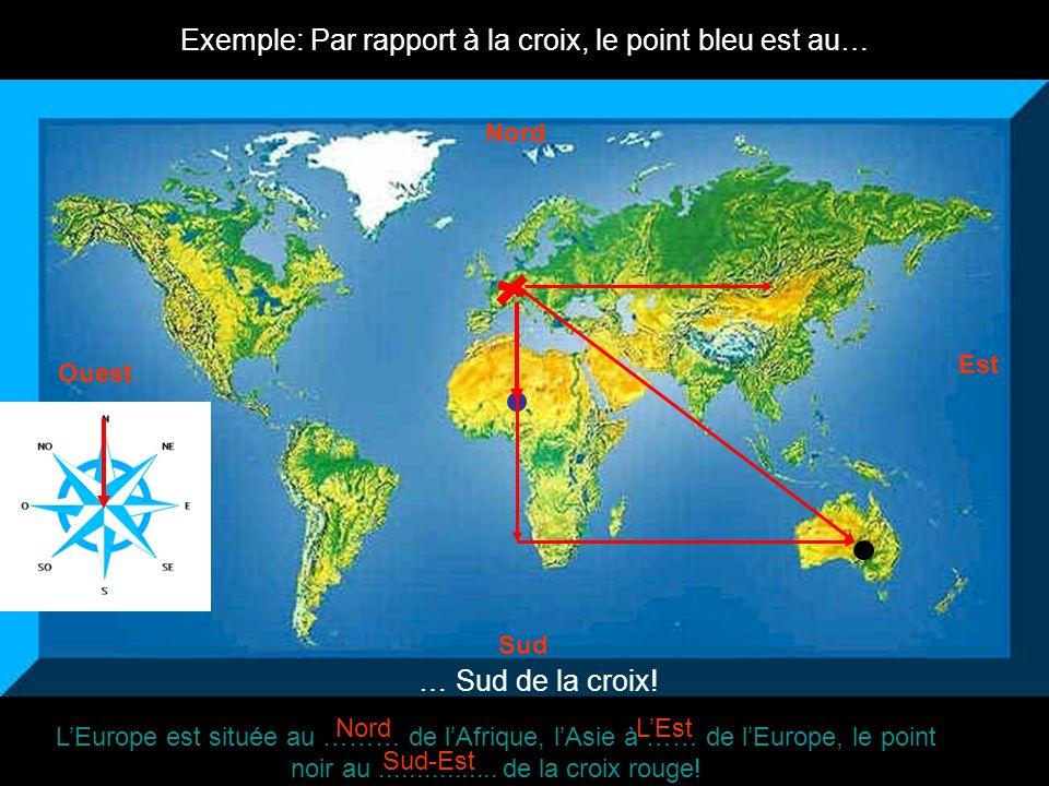 Exemple: Par rapport à la croix, le point bleu est au…