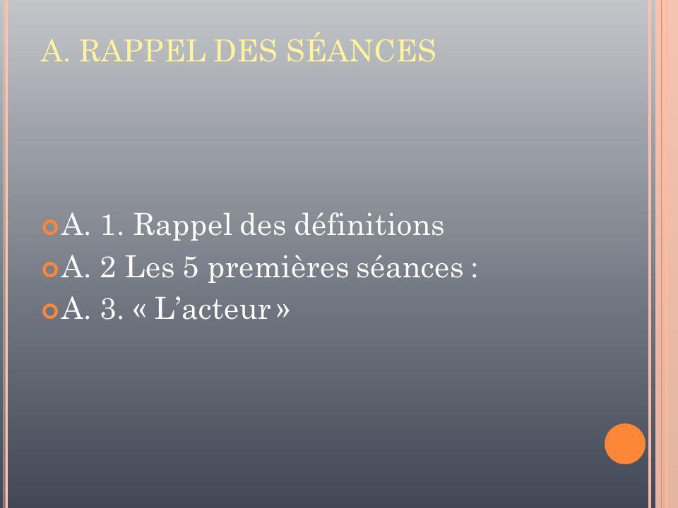 A. RAPPEL DES SÉANCES A. 1. Rappel des définitions.