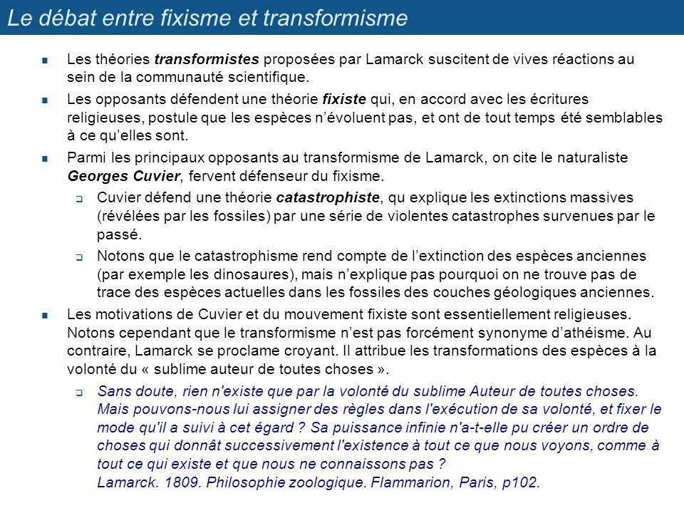 Le débat entre fixisme et transformisme