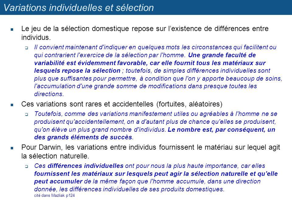 Variations individuelles et sélection