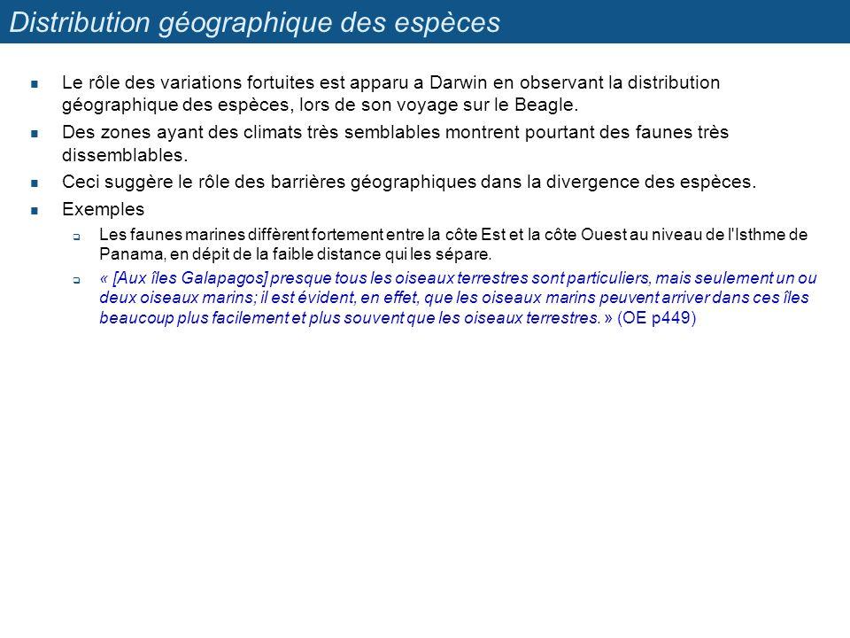 Distribution géographique des espèces