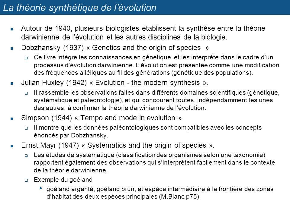 La théorie synthétique de l'évolution