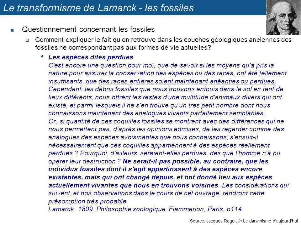 Le transformisme de Lamarck - les fossiles