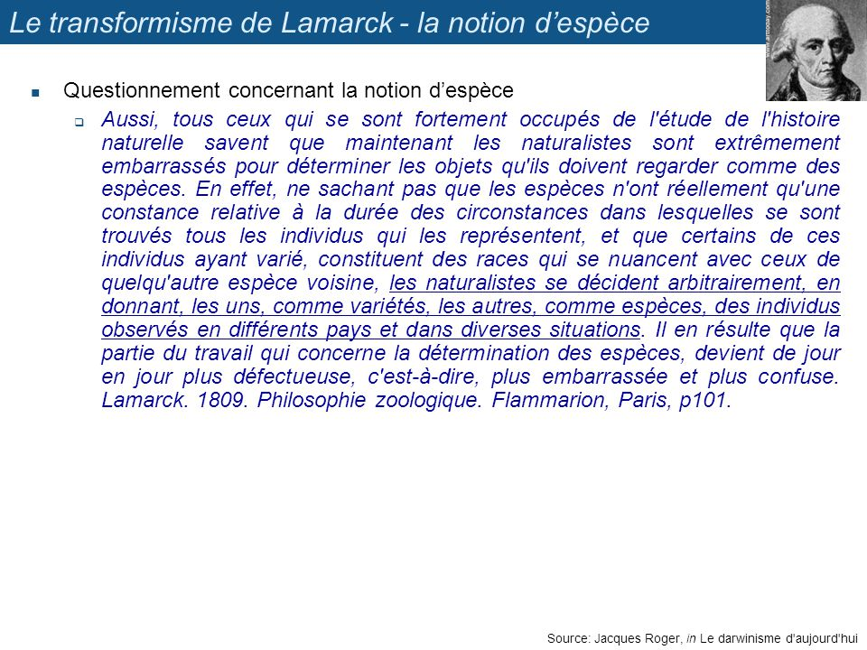 Le transformisme de Lamarck - la notion d'espèce