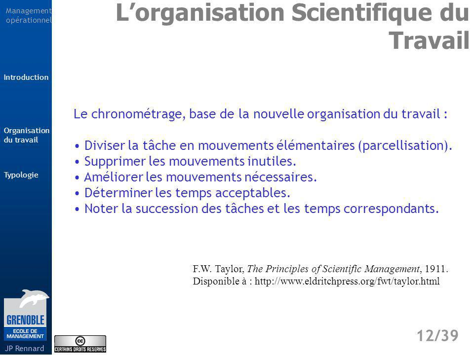 L'organisation Scientifique du Travail