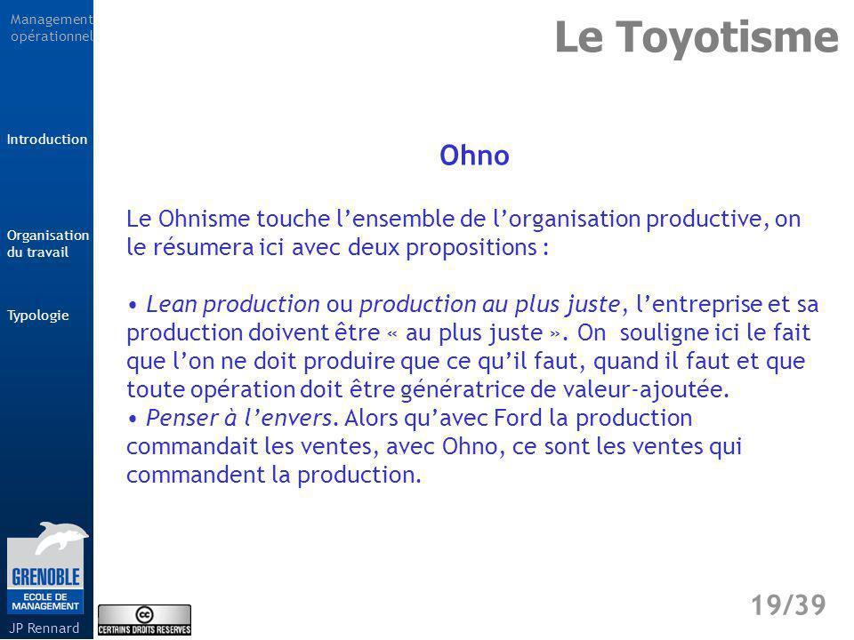 Le Toyotisme Ohno. Le Ohnisme touche l'ensemble de l'organisation productive, on le résumera ici avec deux propositions :