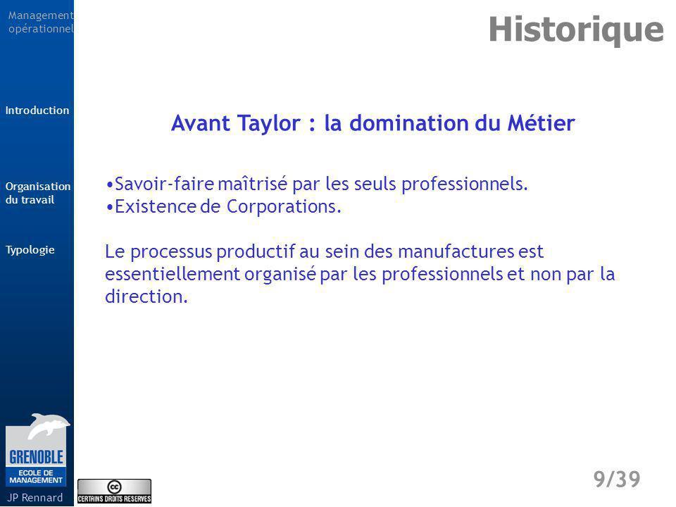 Avant Taylor : la domination du Métier
