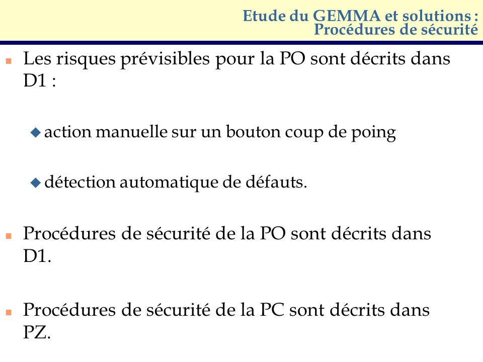 Etude du GEMMA et solutions : Procédures de sécurité